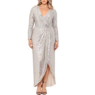 Plus Size Xscape Long Sleeve Faux Wrap Sequin Gown, Metallic