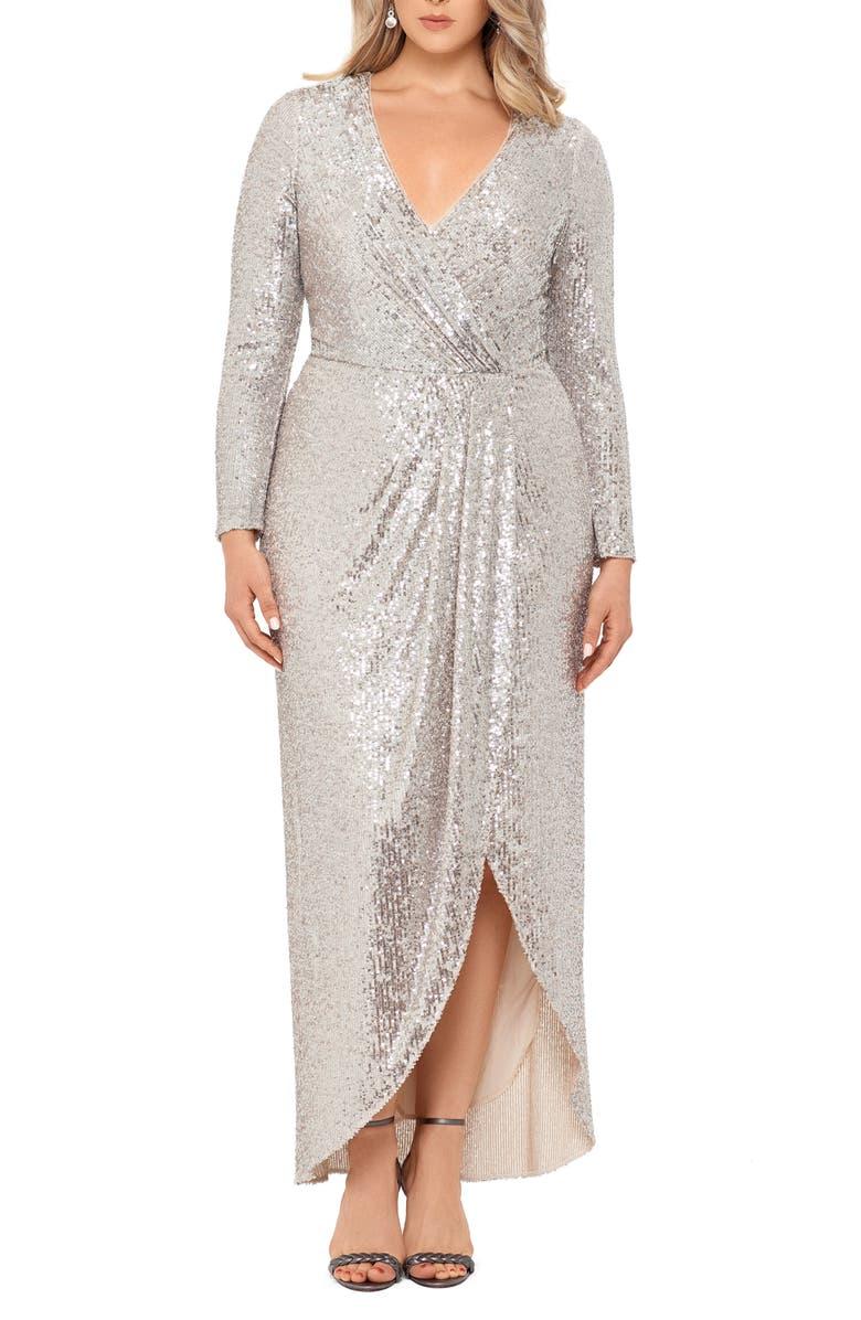 XSCAPE Long Sleeve Faux Wrap Sequin Gown, Main, color, NUDE/ SILVER