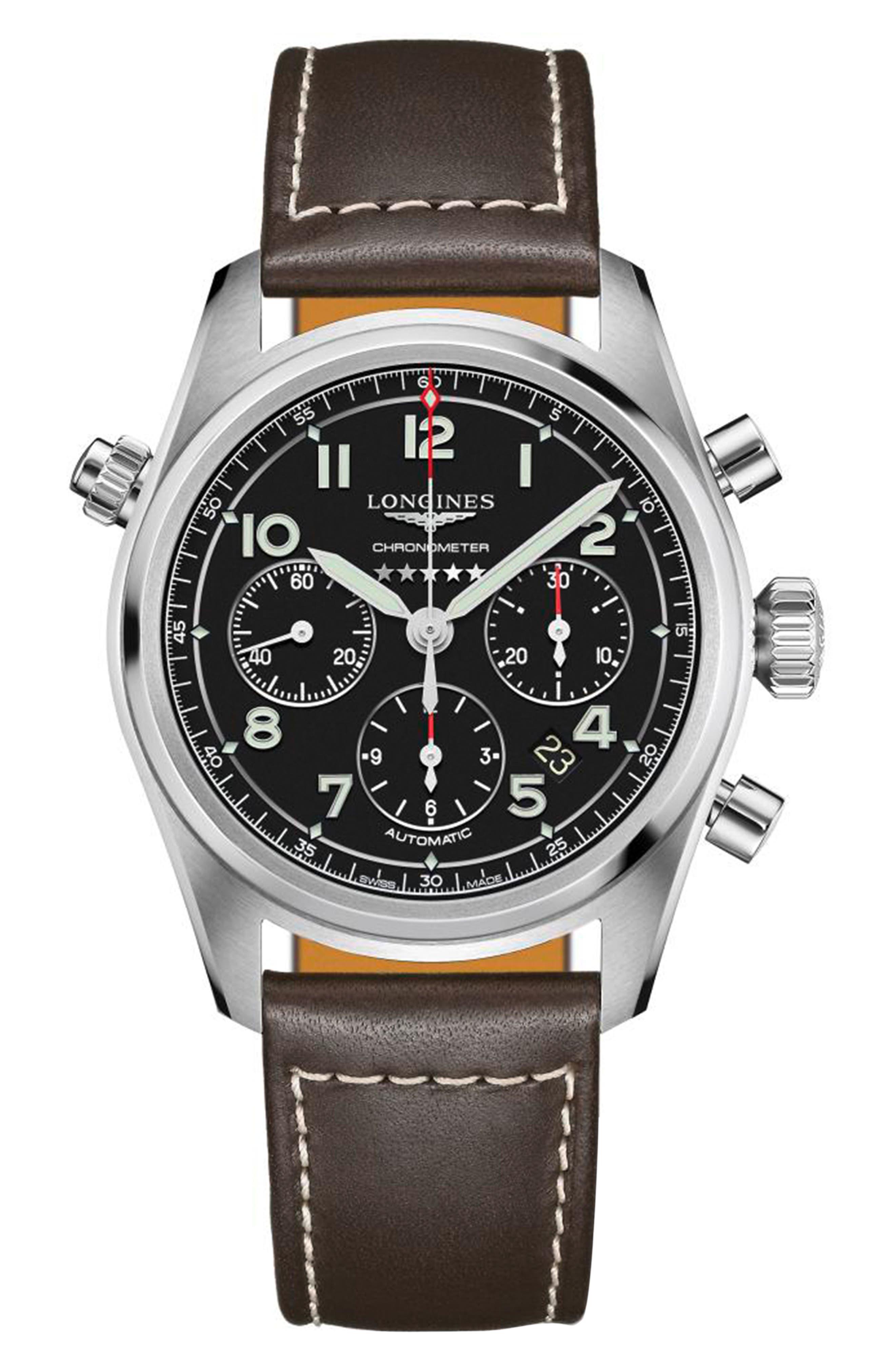 Spirit Automatic Chronograph Leather Strap Watch
