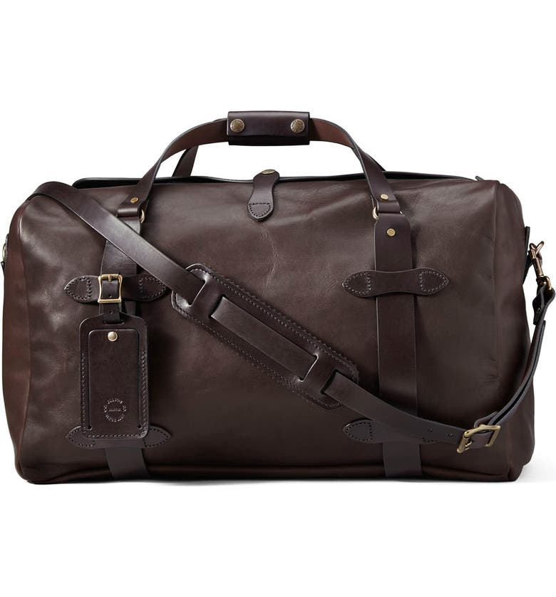 FILSON Weatherproof Leather Duffle Bag, Main, color, SIERRA BROWN