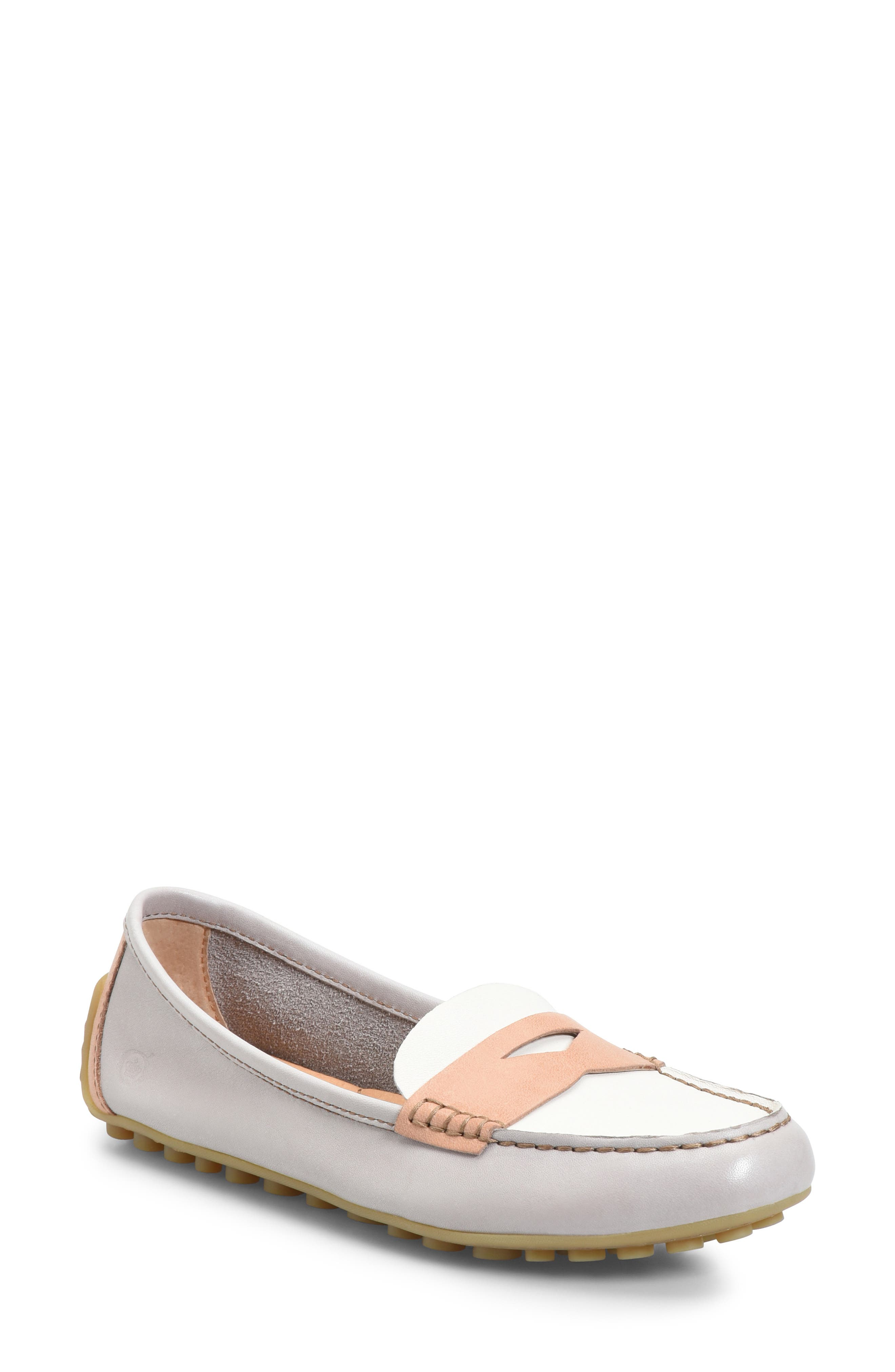 Malena Penny Loafer, Main, color, LIT GREY/ WHITE/ BLUSH LEATHER