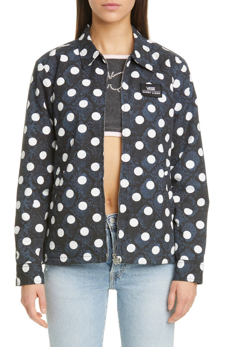 VANS x Sandy Liang Dot Coach's Jacket, Main, color, MIDNIGHT NAVY