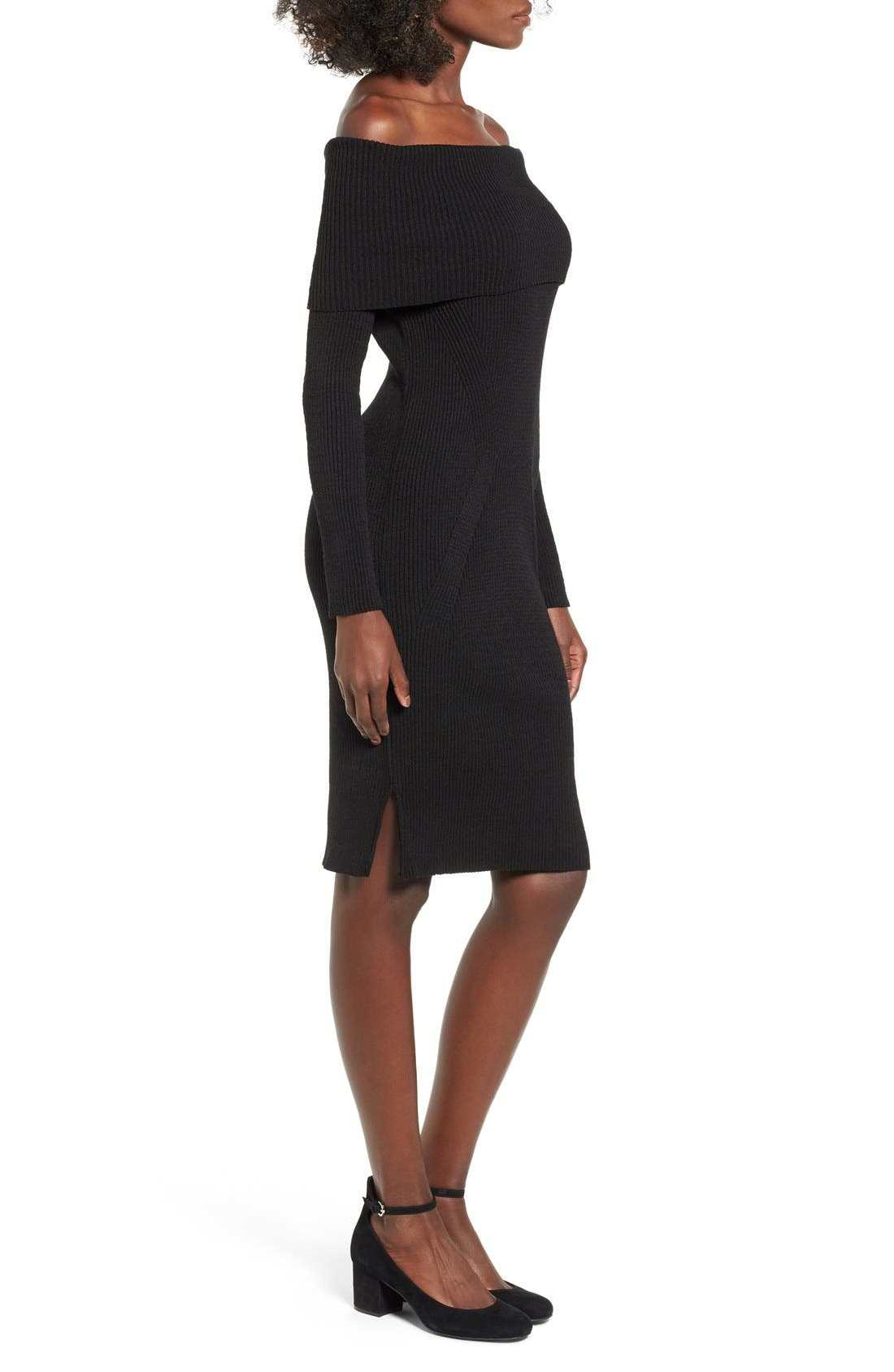 ,                             Off the Shoulder Knit Body-Con Dress,                             Alternate thumbnail 3, color,                             001