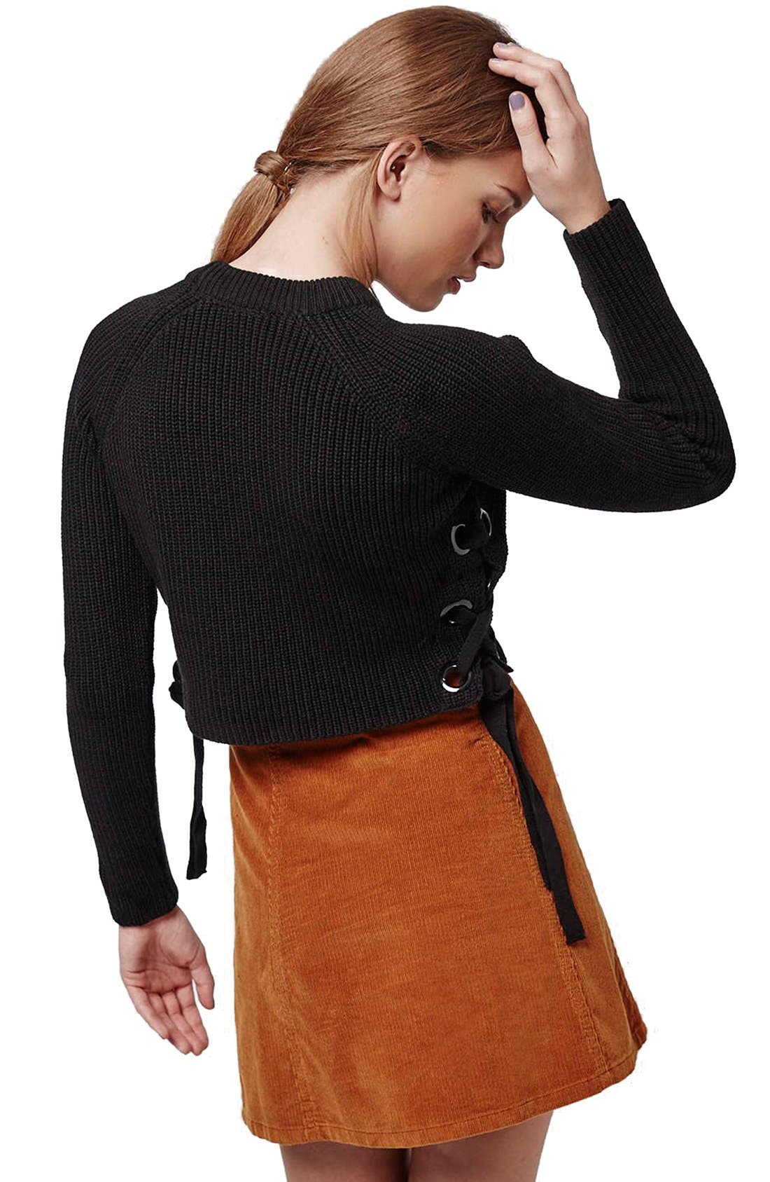,                             Side Tie Crop Sweater,                             Alternate thumbnail 5, color,                             001