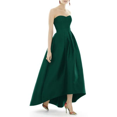 Alfred Sung Strapless High/low Satin Twill Ballgown, Green