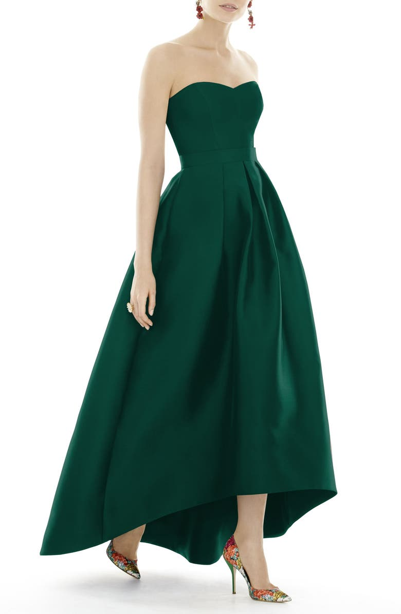 ALFRED SUNG Strapless High/Low Satin Twill Ballgown, Main, color, HUNTER