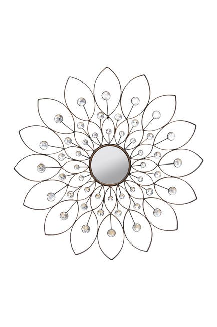 Image of Stratton Home Black Industrial Flower Wall Decor