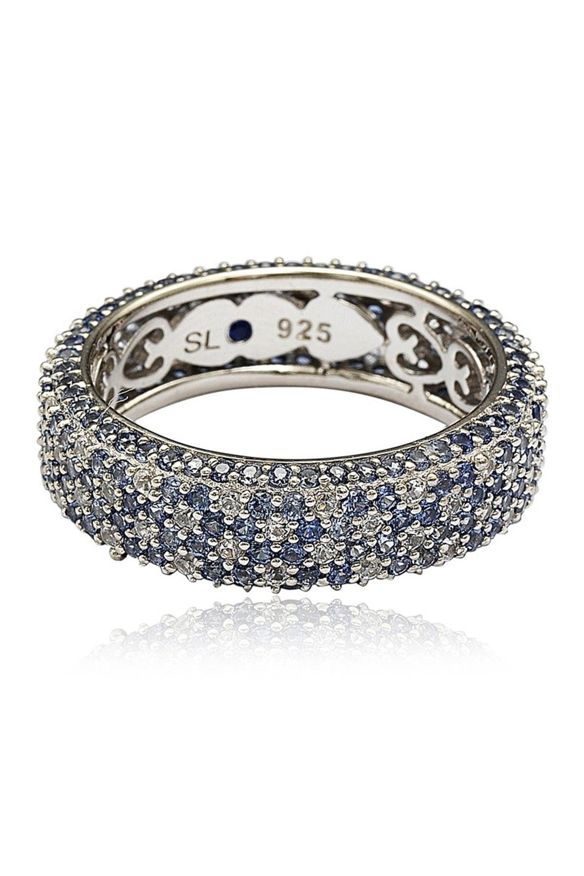 Image of Suzy Levian Sterling Silver Pave Blue Sapphire & Created White Sapphire Ring