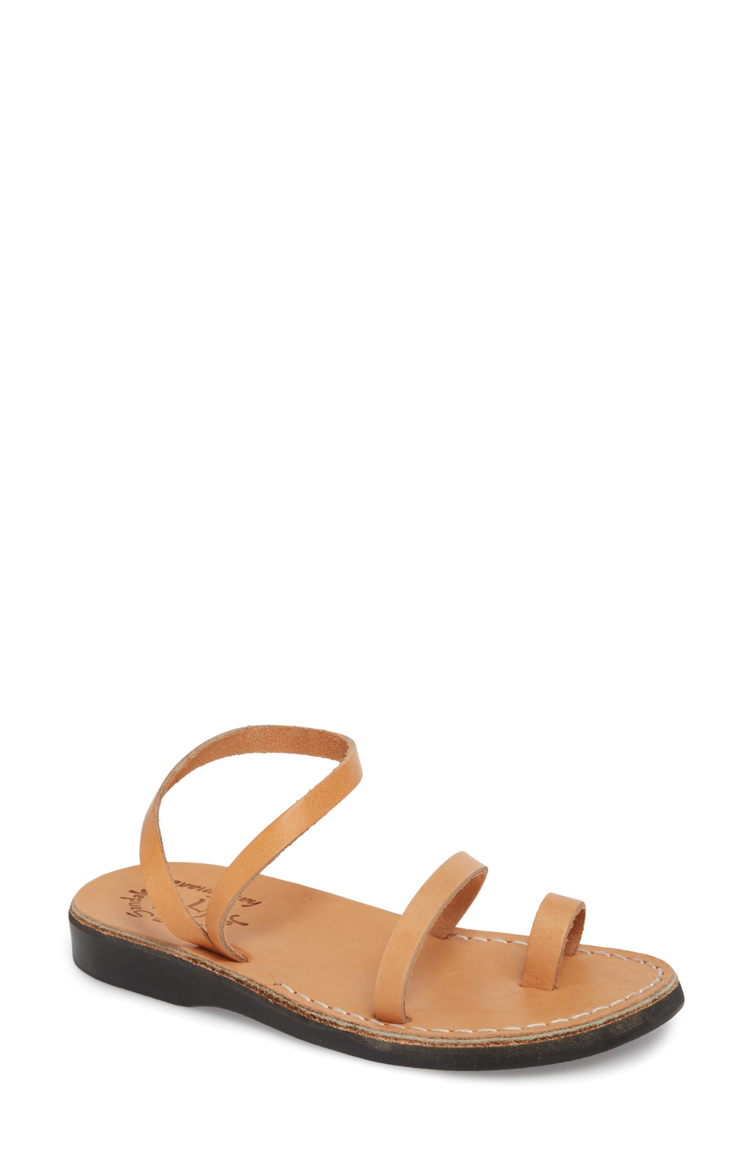 Designed as a tribute to 2,000-year-old footwear found at archaeological digs in the Middle East, these natural-leather sandals are handmade in Israel by skilled craftsmen. We\\\'re not saying that they\\\'ll last for 40 years in the wilderness, but they sure are comfortable. Style Name: Jerusalem Sandals Ella Sandal (Women). Style Number: 5530851 1. Available in stores.