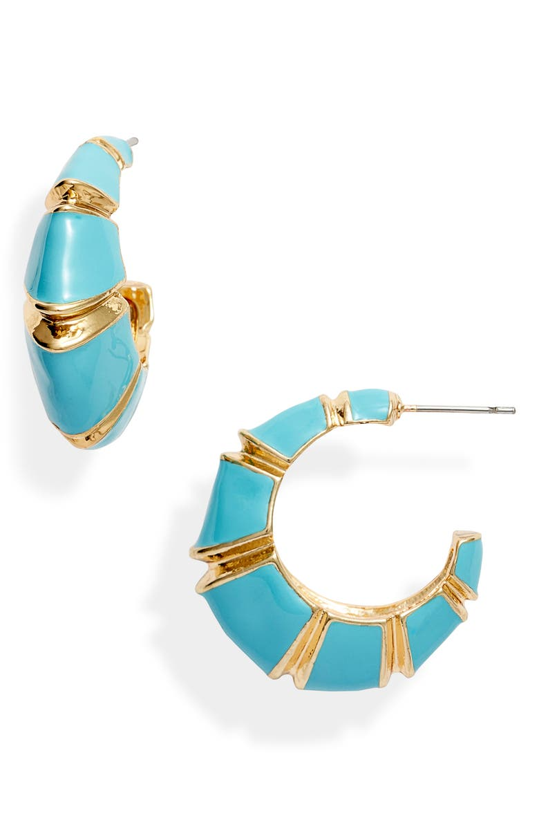 8 OTHER REASONS x Jill Jacobs Leona Hoop Earrings, Main, color, GOLD/ BLUE