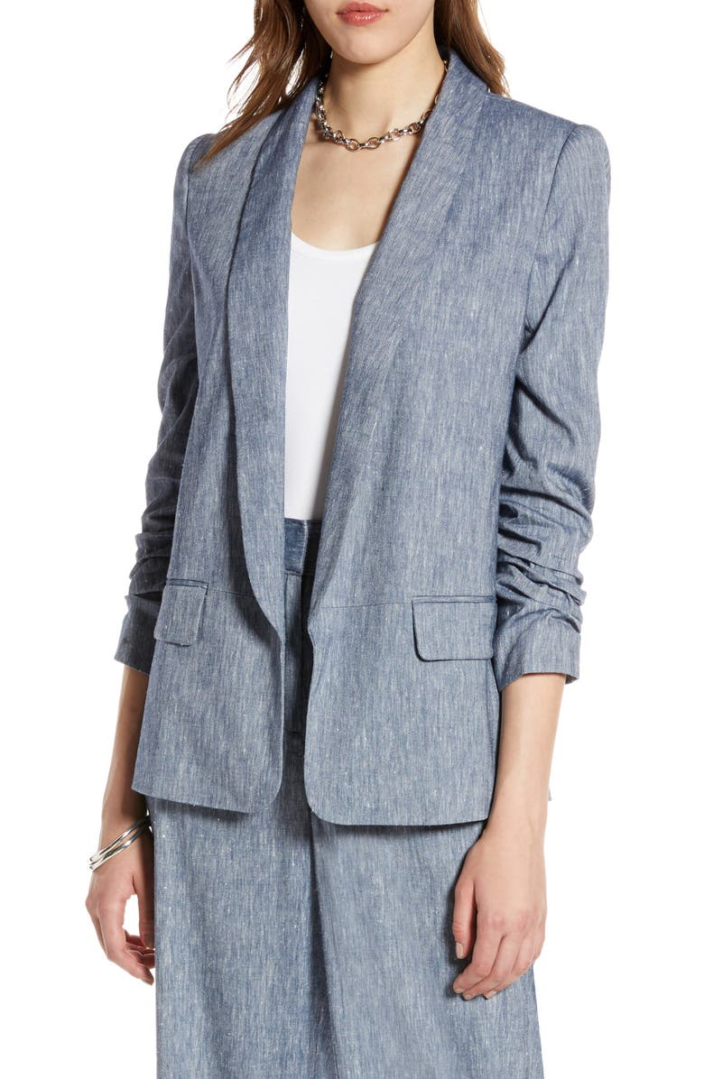 HALOGEN<SUP>®</SUP> Stretch Linen Blend Blazer, Main, color, CHAMBRAY