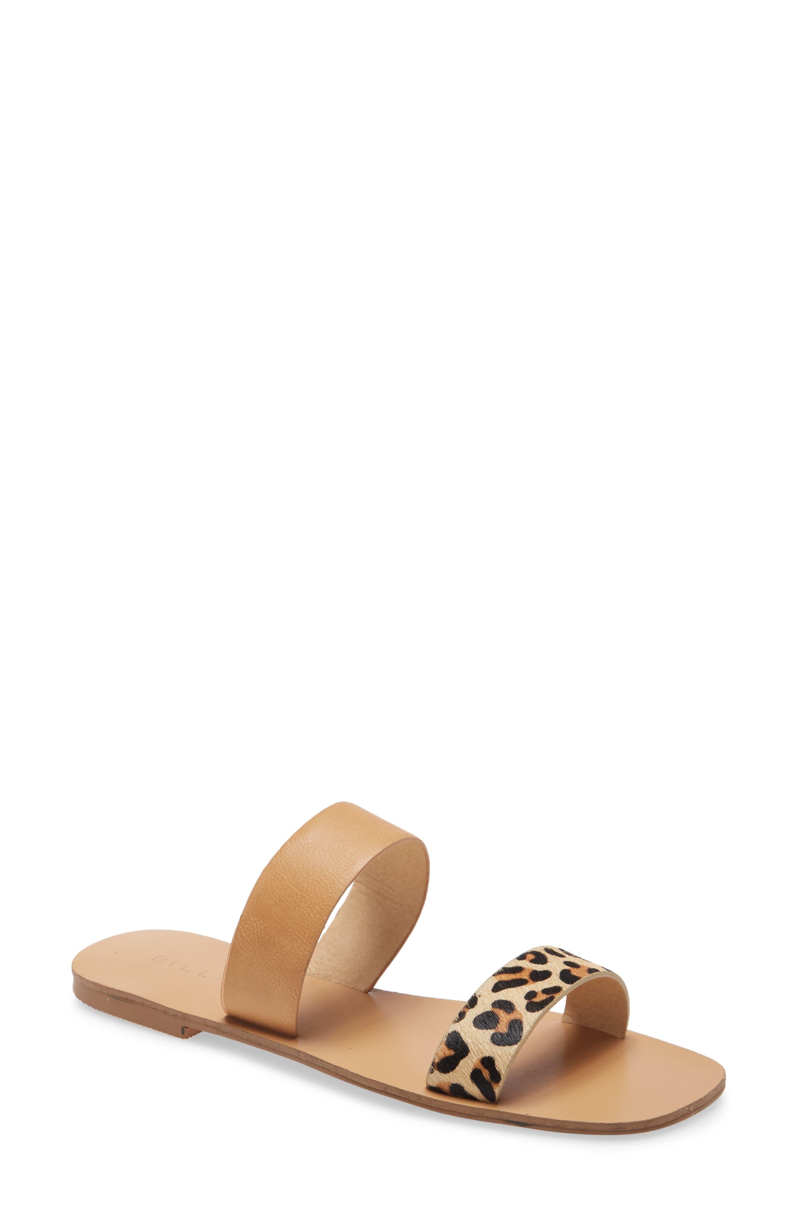 Tate Slide Sandal With Genuine Calf Hair