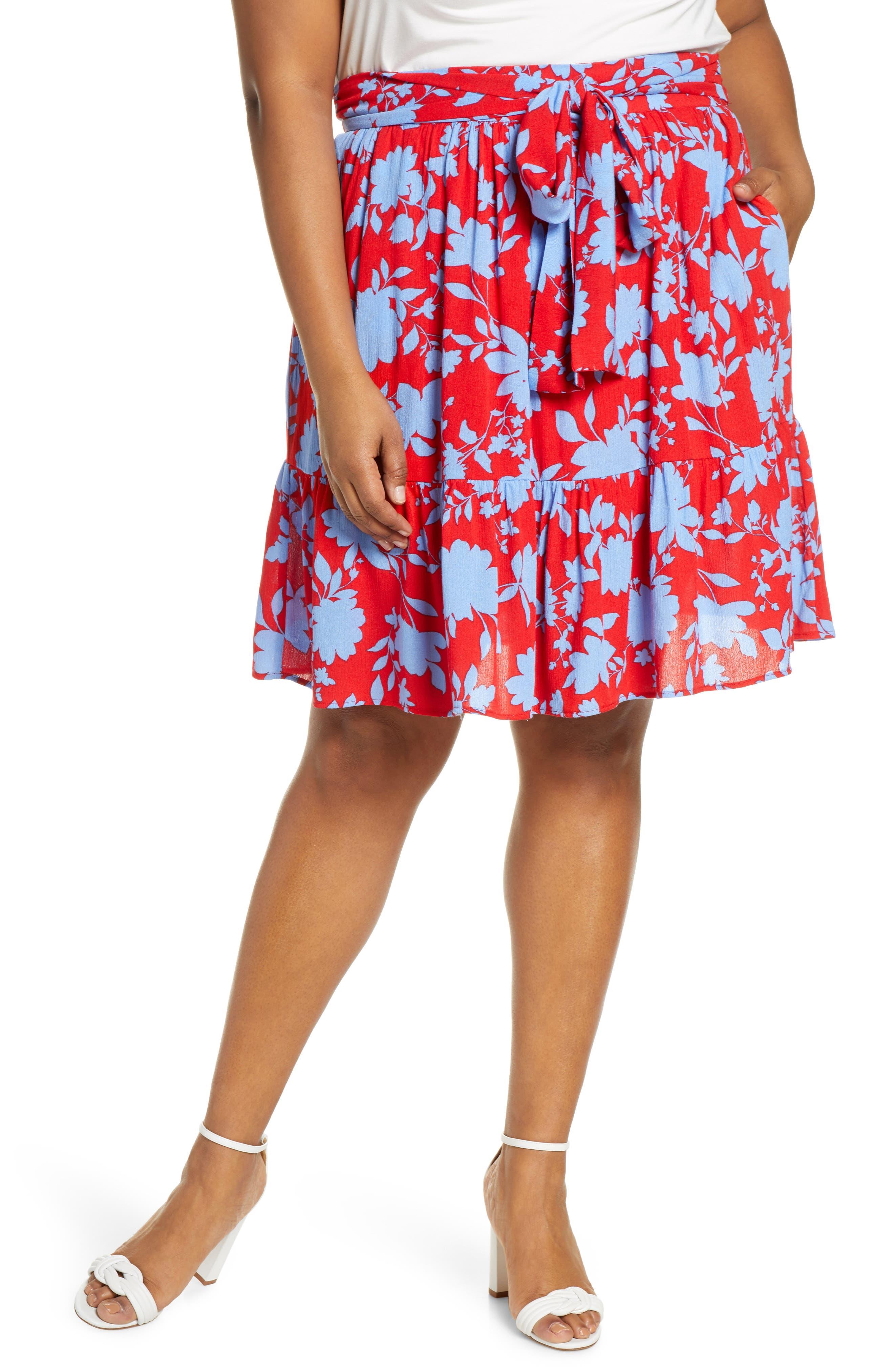 Plus Size Gibson X Hi Sugarplum! Capri Tiered Tie Front Summer Skirt, Red