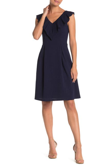 Image of Eliza J Perforated Ruffle Fit & Flare Dress