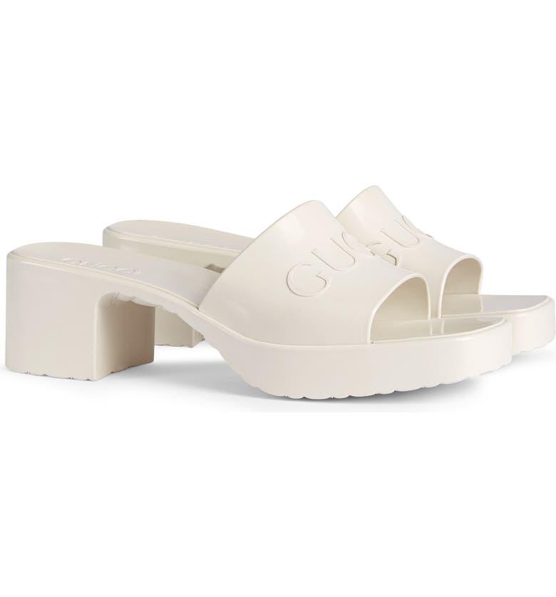 GUCCI Rubber Logo Platform Slide Sandal, Main, color, MYSTIC WHITE