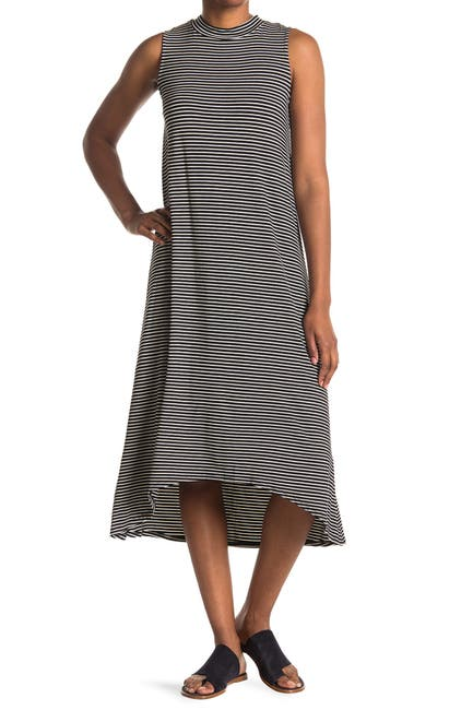 Image of TASH + SOPHIE Striped Mock Neck Sleeveless Midi Dress