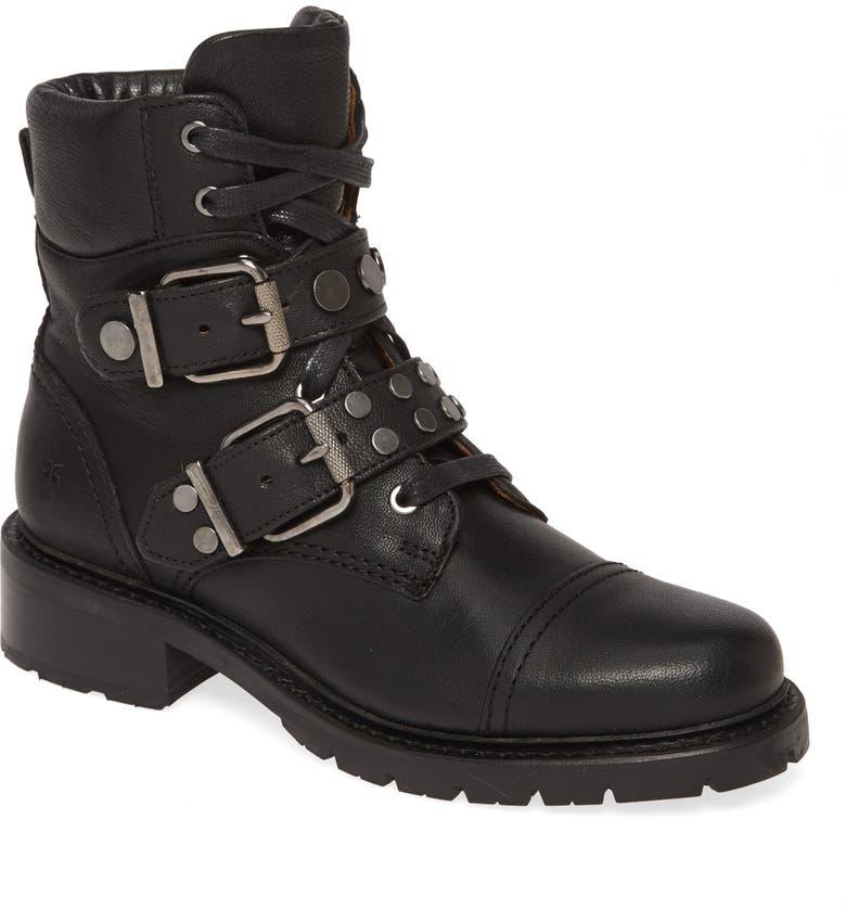 FRYE Samantha Studded Hiker Boot, Main, color, BLACK LEATHER