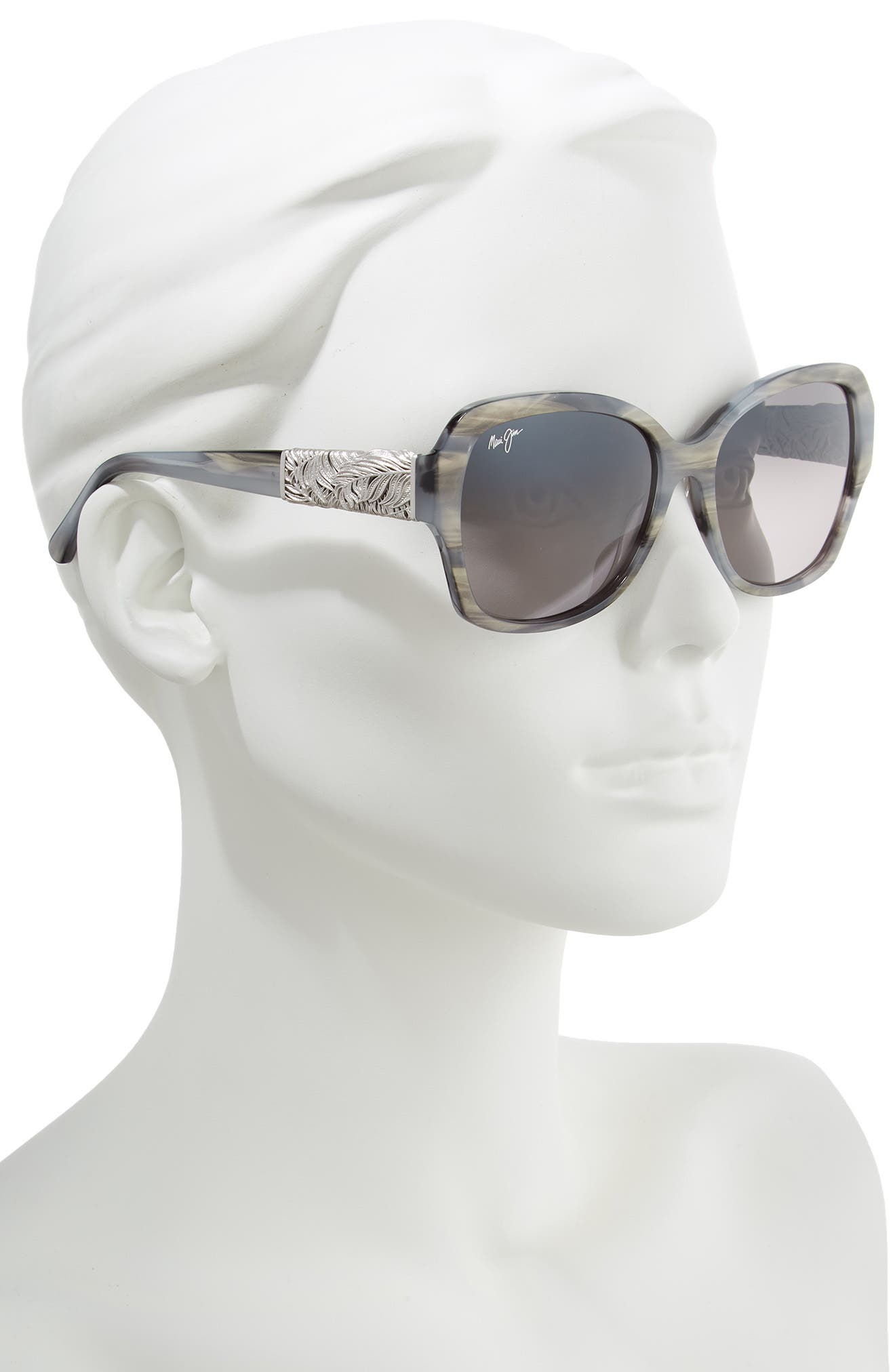 ,                             Swaying Palms 57mm Polarized Butterfly Sunglasses,                             Alternate thumbnail 2, color,                             BLUE GREY PEARL/ WHITE GOLD