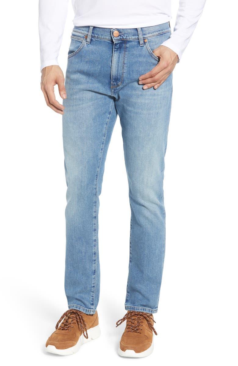 WRANGLER Larston Tapered Slim Fit Jeans, Main, color, MID SUMER BLUE