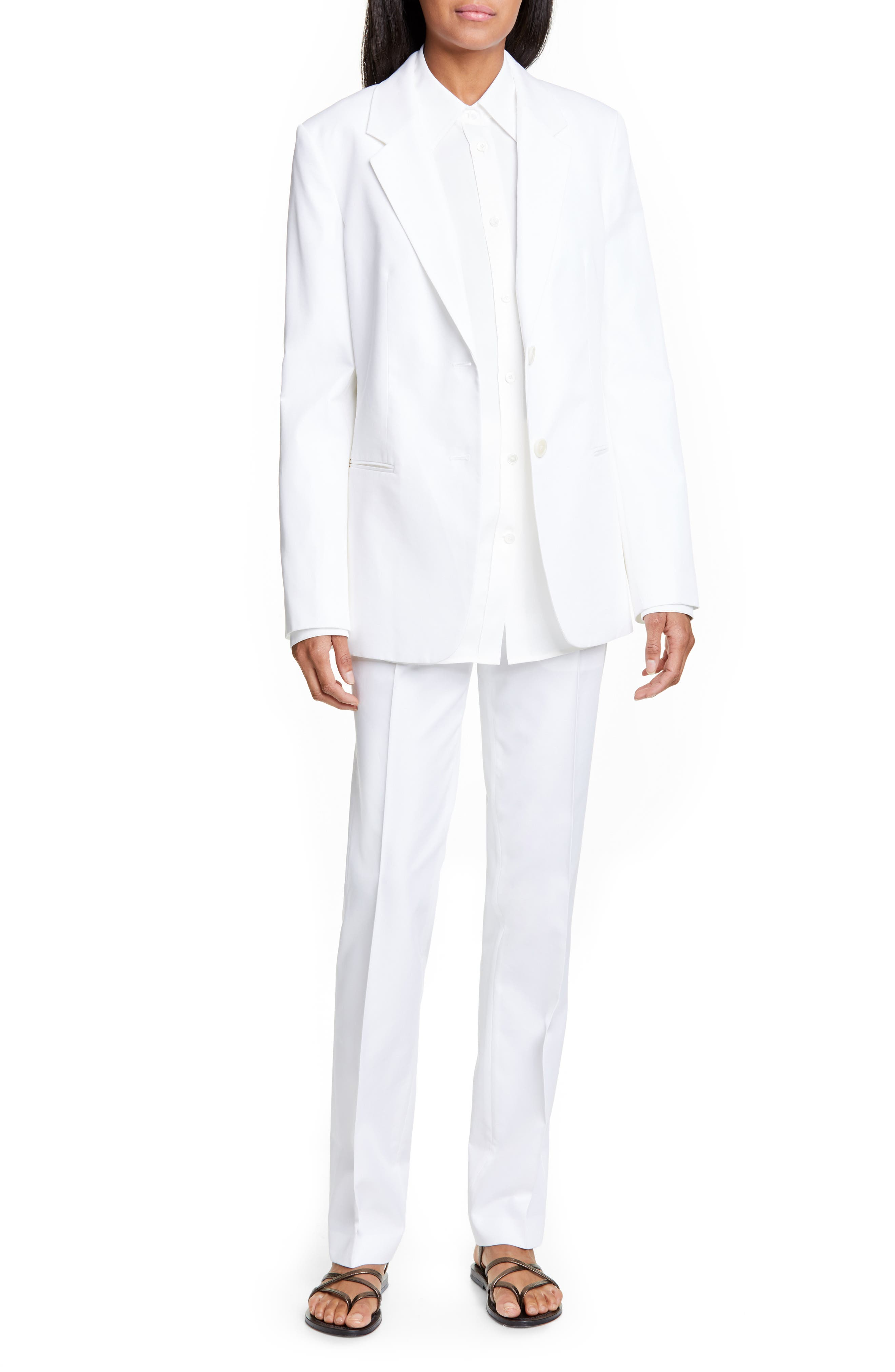 ,                             Cotton Blend Blazer,                             Alternate thumbnail 8, color,                             WHITE