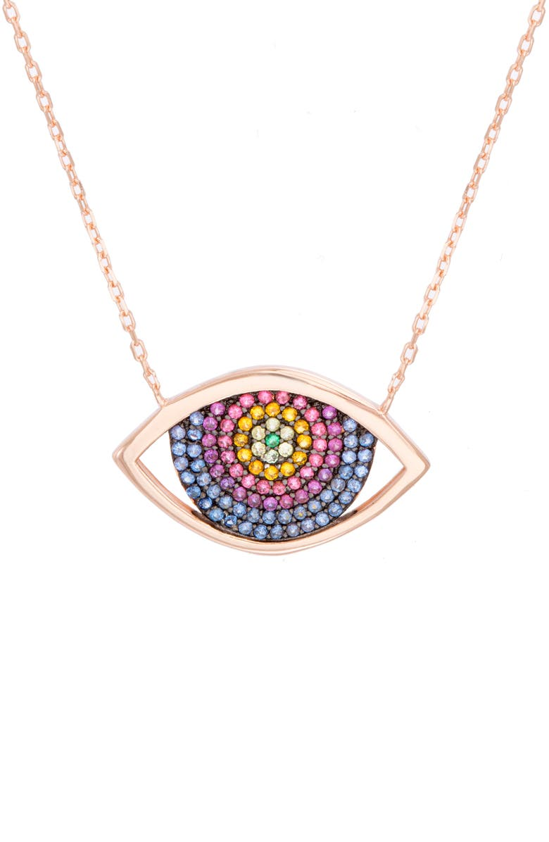 LESA MICHELE Eye Pavé Crystal Necklace, Main, color, ROSE/ MULTI