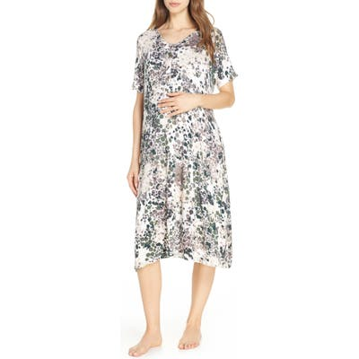 Nesting Olive Floral Print Maternity/nursing Sleep Shirt, Green