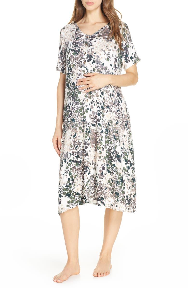 NESTING OLIVE Floral Print Maternity/Nursing Sleep Shirt, Main, color, PATTERN- GREEN GRAY TAN