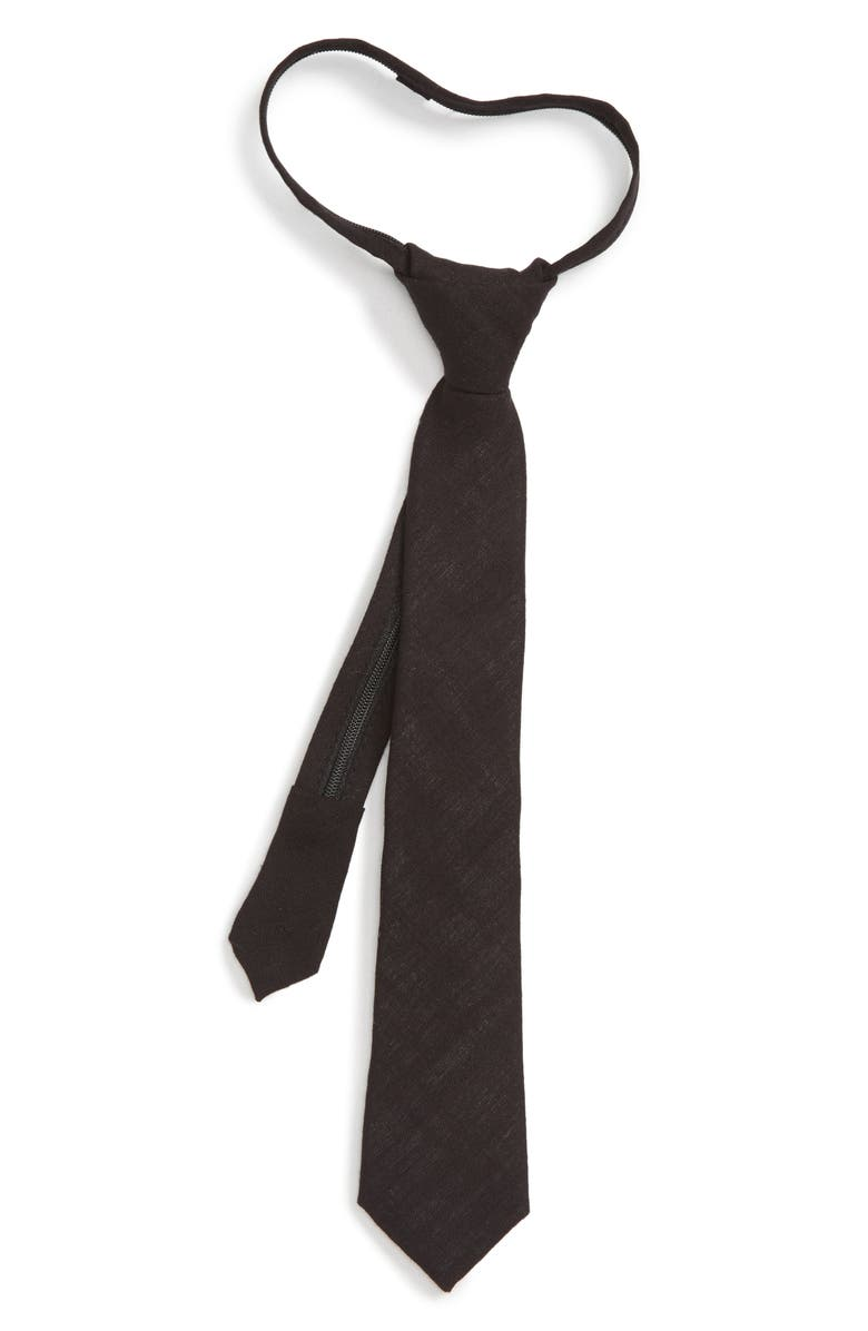 NORDSTROM Solid Zip Tie, Main, color, 001