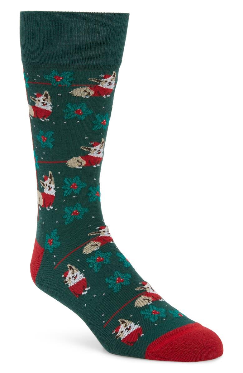 NORDSTROM MEN'S SHOP Santa Dog Socks, Main, color, 301