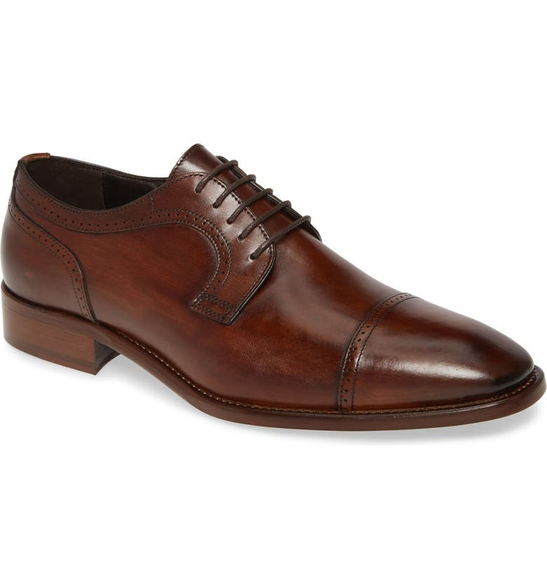 JOHNSTON & MURPHY Cormac Cap Toe Derby, Main, color, MAHOGANY LEATHER