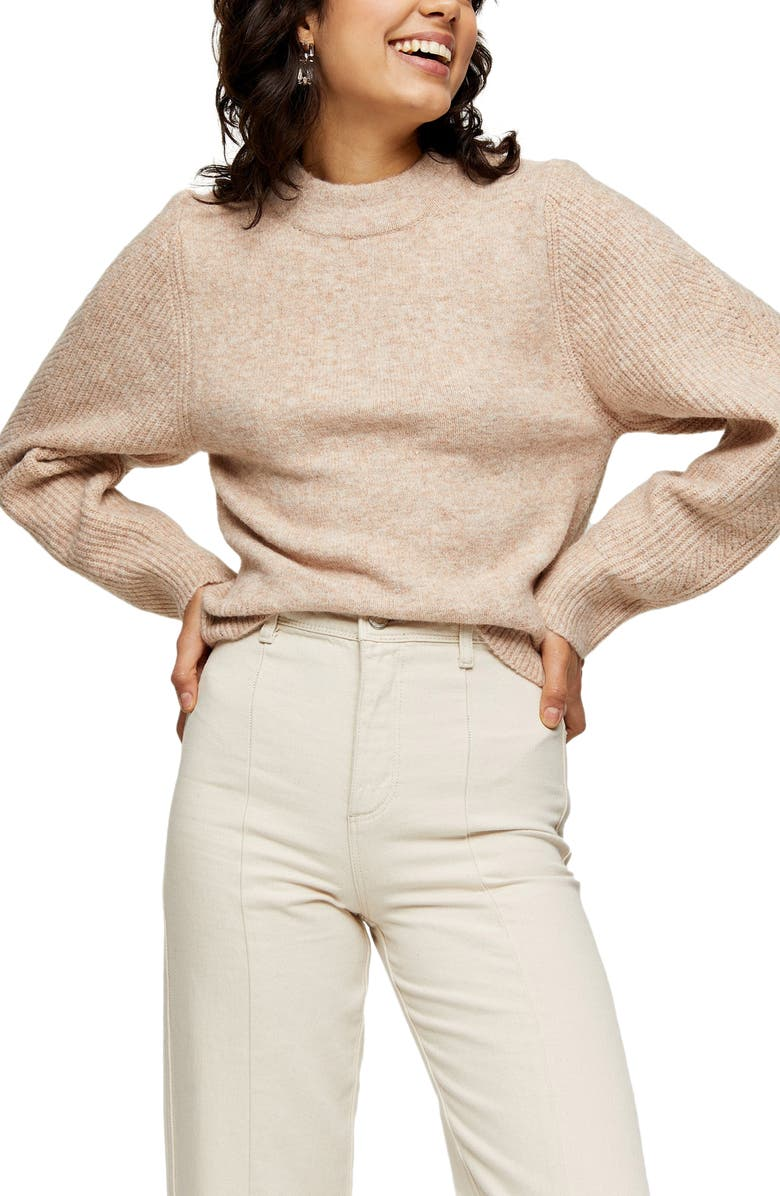 TOPSHOP Ribbed Sleeve Detail Sweater, Main, color, OATMEAL