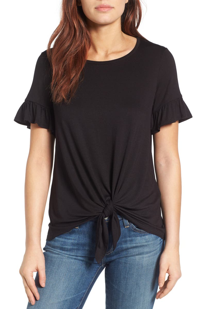 BOBEAU Bell Sleeve Tie Front Top, Main, color, 001