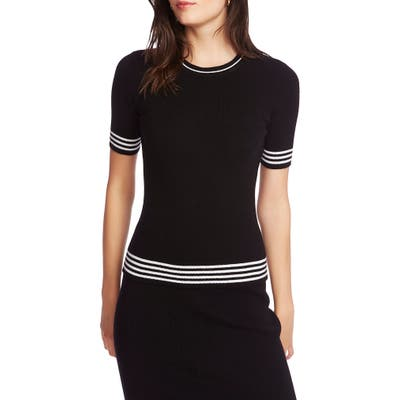 Court & Rowe Stripe Detail Short Sleeve Cotton & Wool Blend Sweater, Black