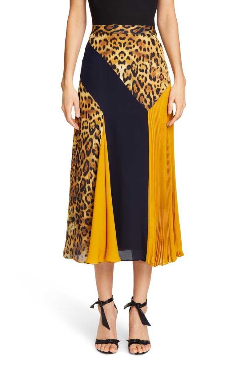 CUSHNIE Leopard Colorblock Silk Midi Skirt, Main, color, TAN LEOPARD/ NAVY/ GOLD