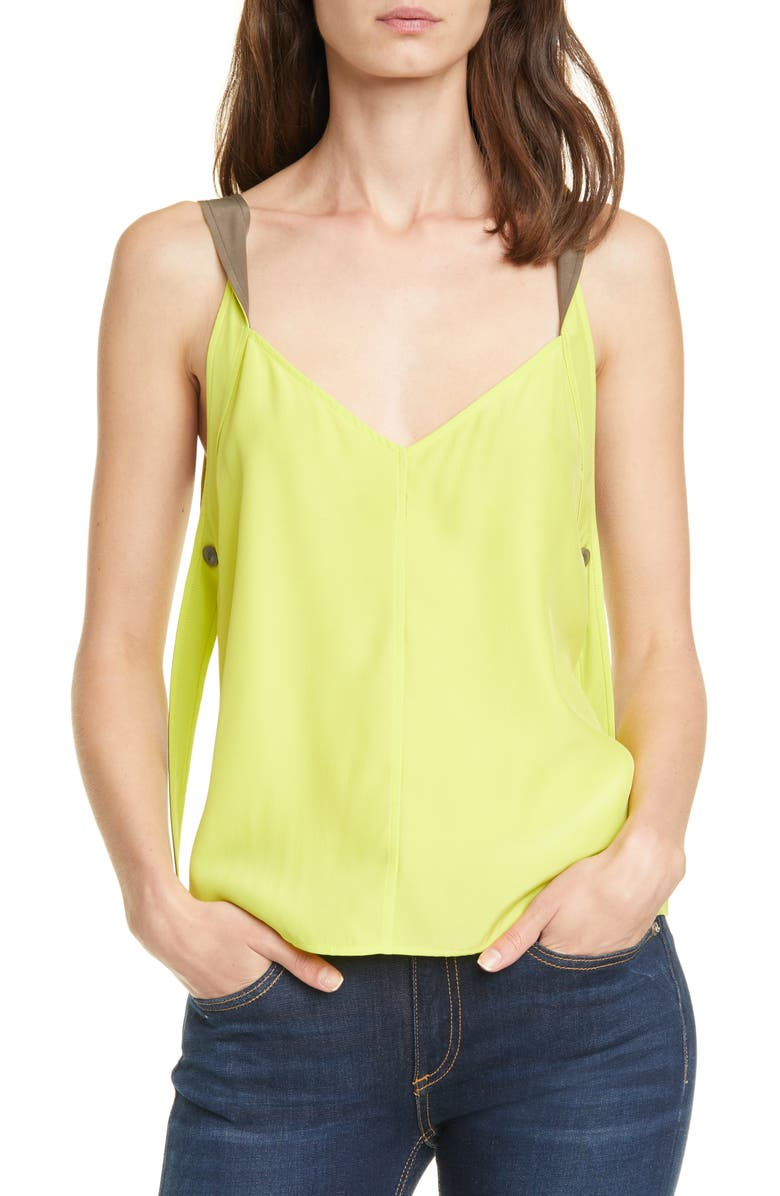 RAG & BONE Colette Twist Strap Colorblock Silk Camisole, Main, color, 330