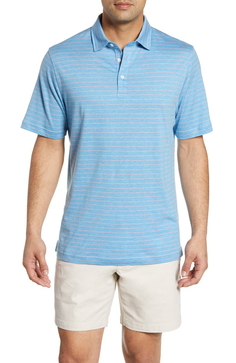 PETER MILLAR Crown Cool Stripe Regular Fit Polo, Main, color, 409