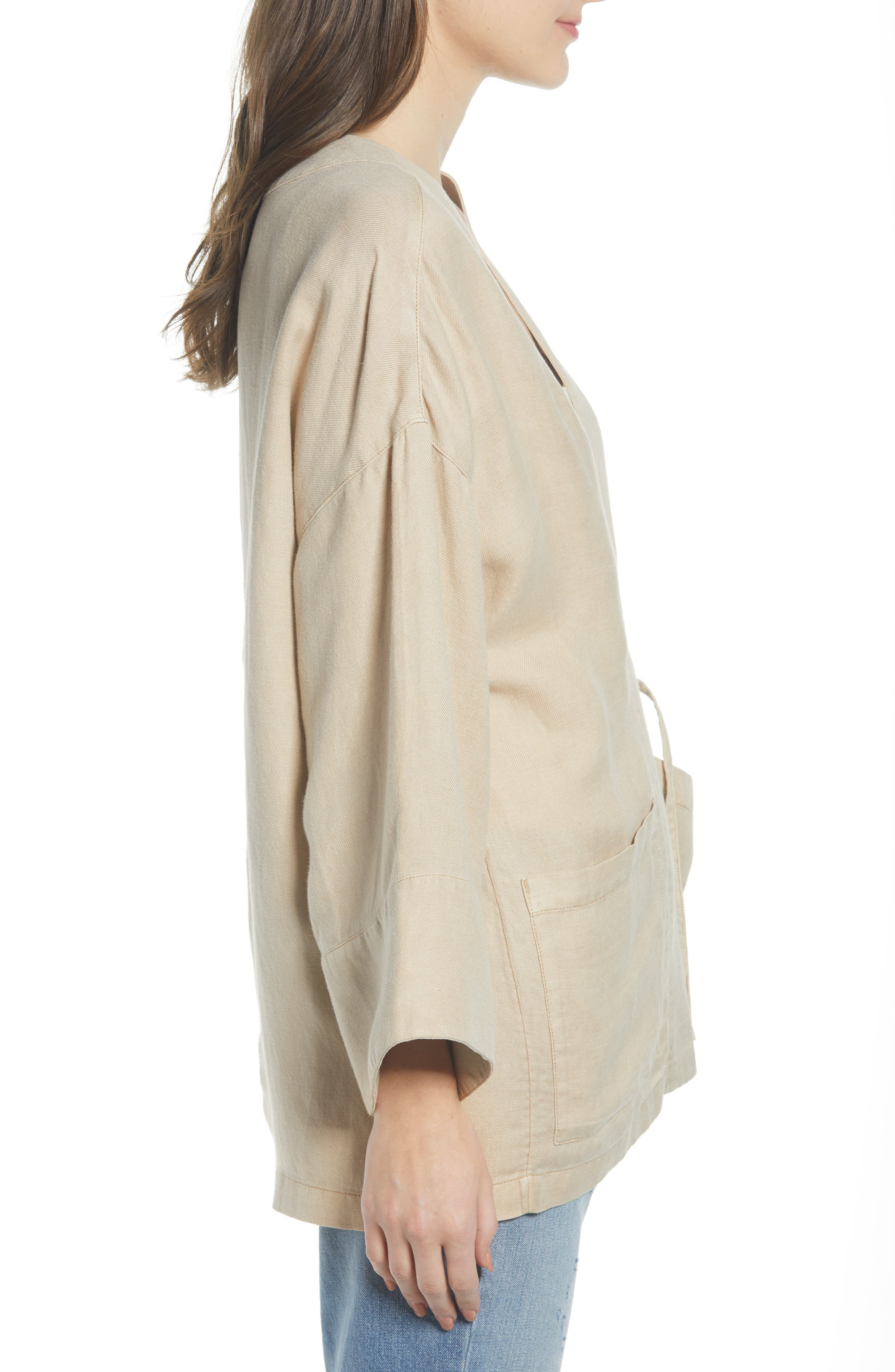 ,                             Linen Blend Wrap Jacket,                             Alternate thumbnail 4, color,                             BEIGE BIRCH