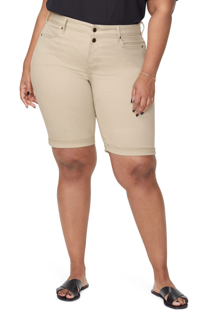 NYDJ Briella Roll Cuff Bermuda Shorts, Main, color, FEATHER