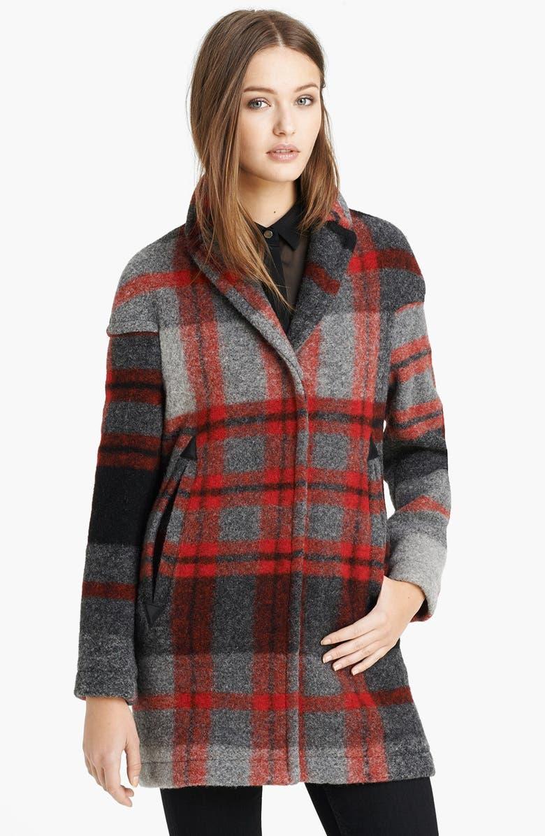 BURBERRY BRIT 'Sharford' Plaid Coat, Main, color, 035