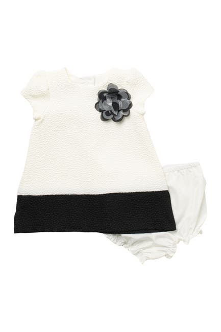 Image of Pastourelle by Pippa and Julie White & Black A-Line Dress with Flower Applique