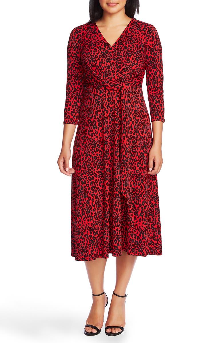 CHAUS Animal Print Midi Dress, Main, color, MILAN ROUGE