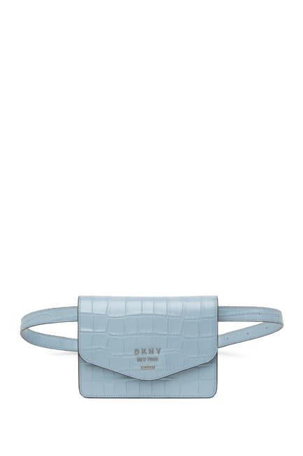 Image of DKNY Whitney Croc Embossed Leather Belt Bag