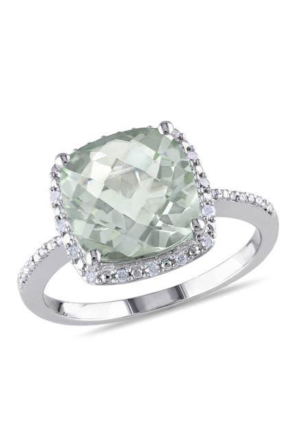 Image of Delmar Sterling Silver Green Amethyst Diamond Ring