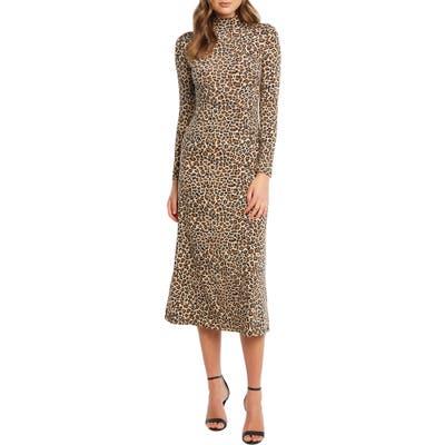 Bardot Leopard Long Sleeve Body-Con Midi Dress, Beige