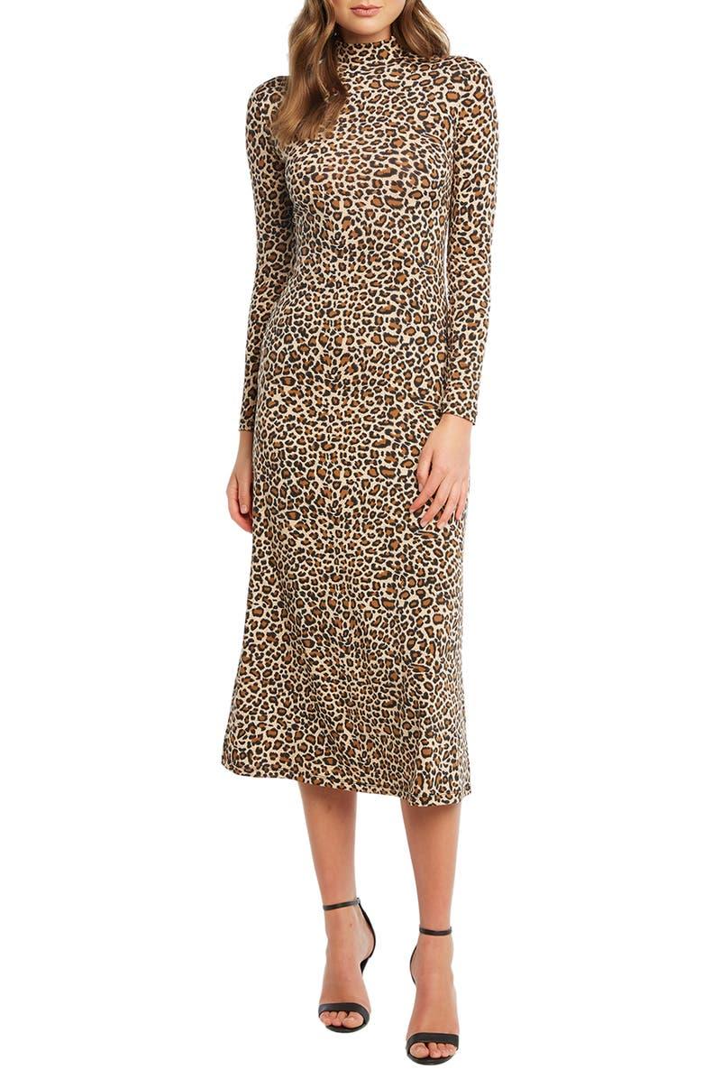 BARDOT Leopard Long Sleeve Body-Con Midi Dress, Main, color, LEOPARD