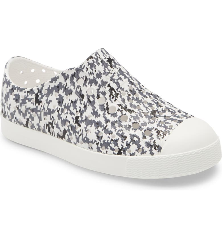 NATIVE SHOES Jefferson Water Friendly Perforated Slip-On, Main, color, GREY DIGIT/ SHELL WHITE