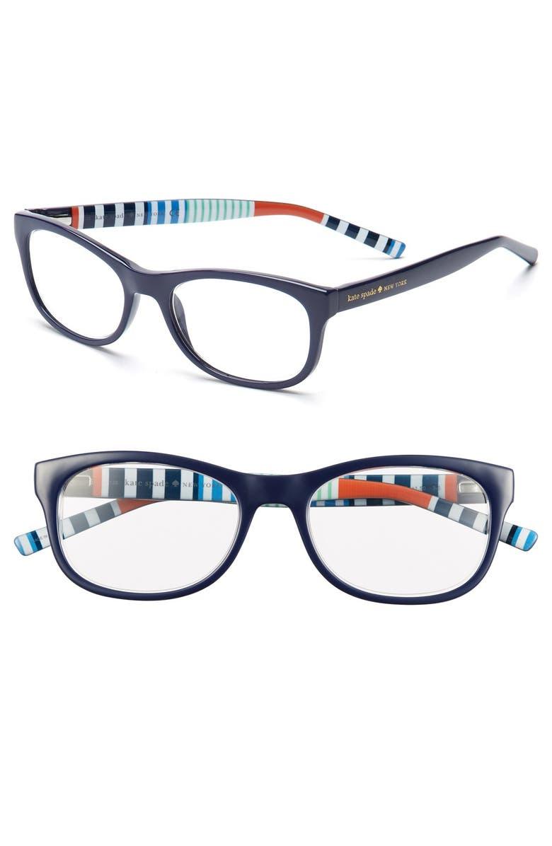 KATE SPADE NEW YORK letti 51mm reading glasses, Main, color, NAVY STRIPE
