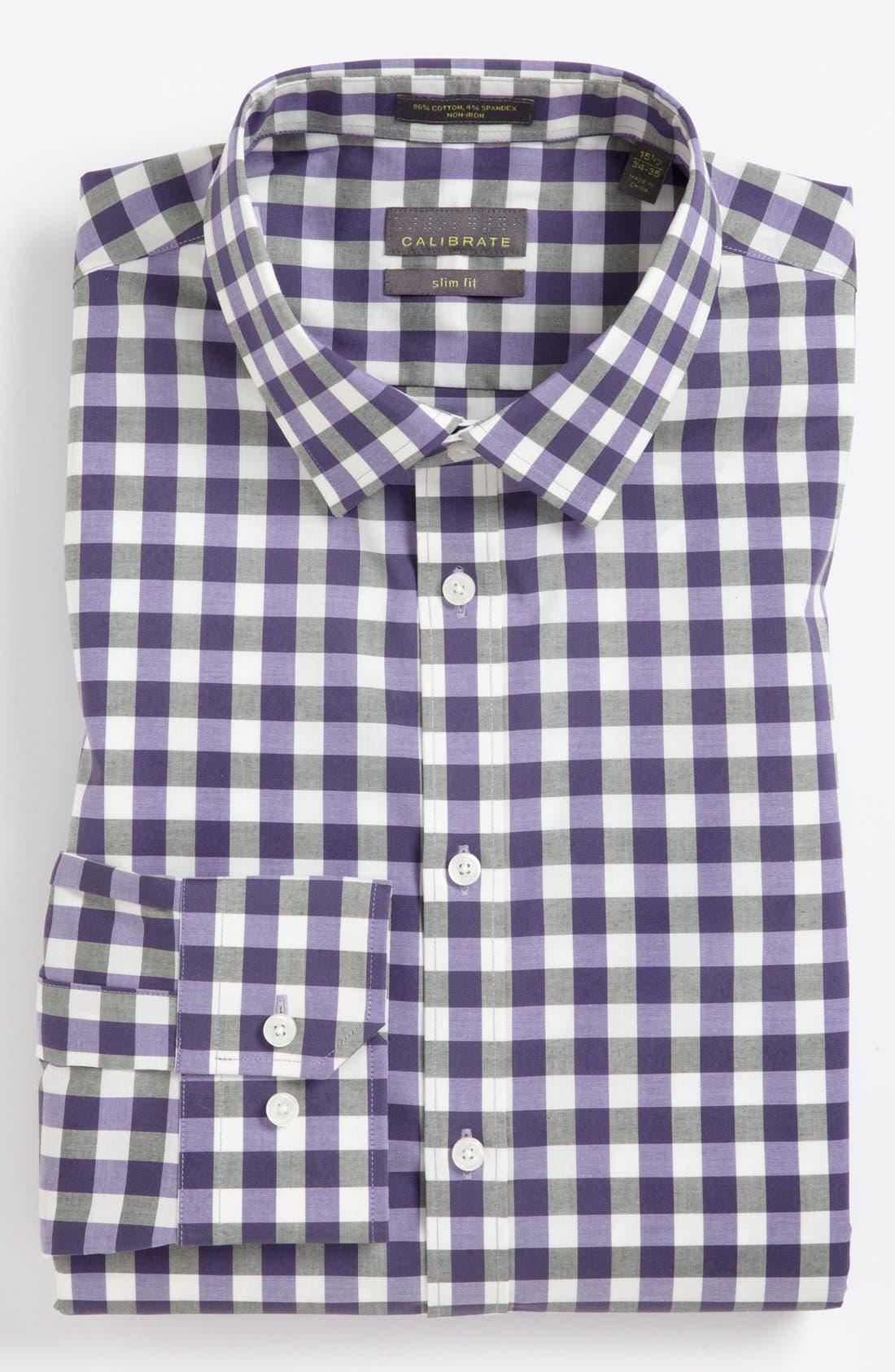 ,                             Slim Fit Non Iron Gingham Dress Shirt,                             Main thumbnail 21, color,                             541