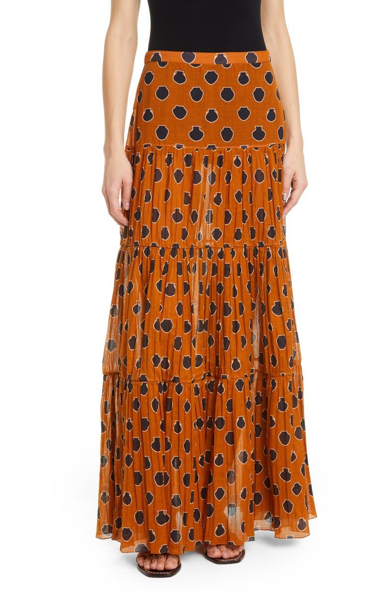 JOHANNA ORTIZ Vase Print A-Line Maxi Skirt, Main, color, 800