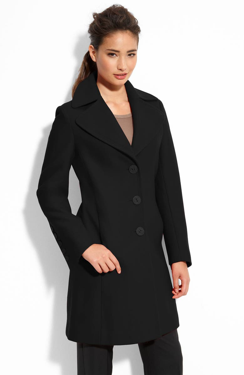 TAHARI 'Lola' Notched Collar Wool Blend Walking Coat, Main, color, 001